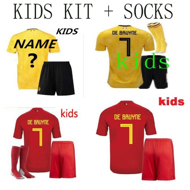 e9e8f154709 Top quality 2018 world cup Belgiumes kids home away Soccer Jersey 18 19  adult Football shirt kids kit+socks Free shipping-in Soccer Jerseys from  Sports ...