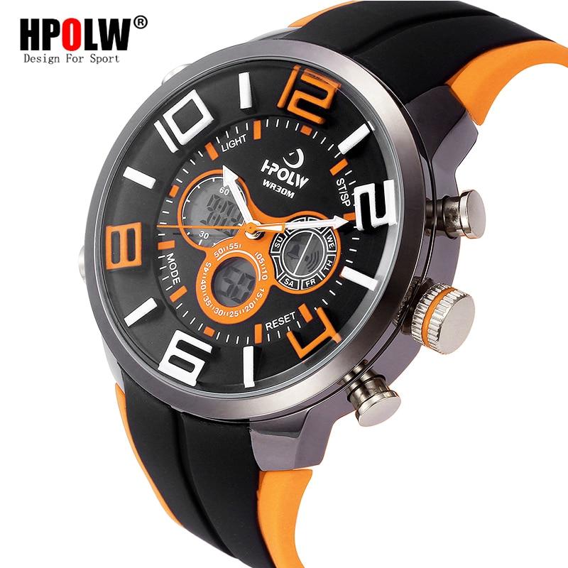 HPOLW Brand Outdoor Sport Watch Men 30m Waterproof Digital Quartz Dual Time Sports Military Watches Climbing Running Clock Men hpolw серебристый цвет 11