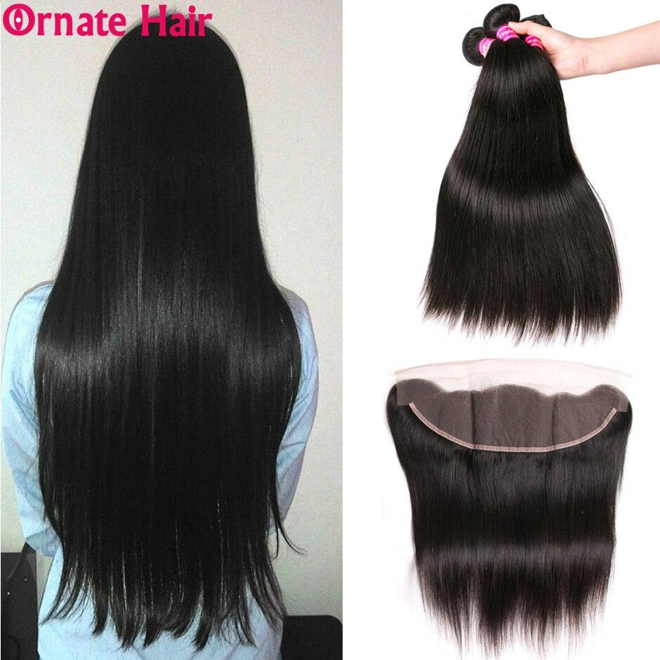 ברזילאי שיער Weave חבילות עם פרונטאלית ישר שיער טבעי חבילות עם סגירת אוזן לאוזן תחרה פרונטאלית סגר עם חבילות