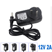 AC100V-240V to DC 12V 2A EU/AU/UK/US Plug Power Adapter Wall Charger DC 5.5mm x 2.1mm 50/60HZ for CCTV Camera