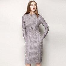 Зимнее платье Для женщин осень 2017 г. Новый Серый Шерсть вязаное платье с длинными рукавами с круглым вырезом Боковой Карман пуловер Платья-свитеры высокое качество