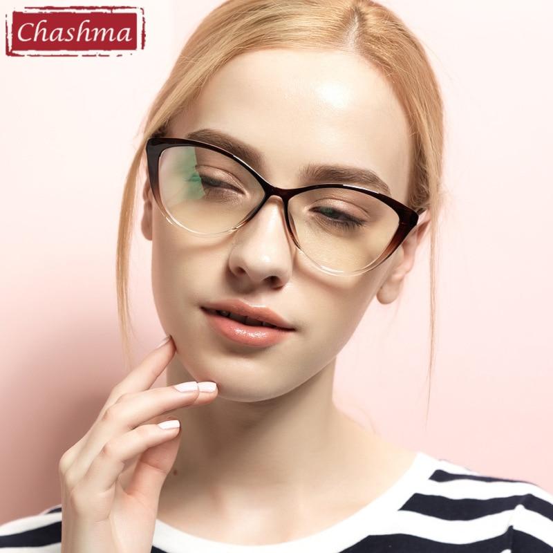 Chashma TR 90 Ochelari de calitate și modă Ochi de pisică Elegant optic Ochelari mari Rame Ochelari cu sticlă transparentă