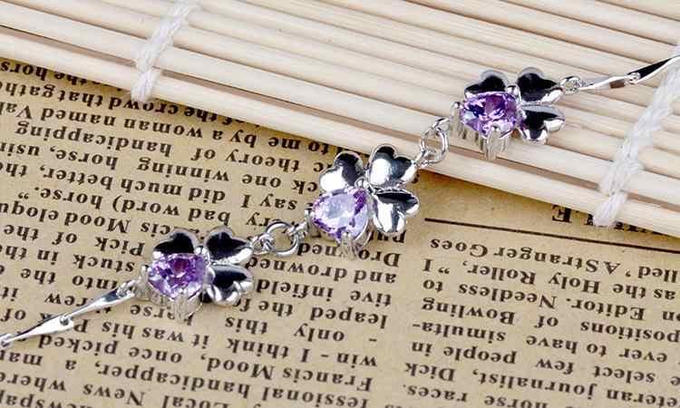 الجملة 925 فضة الأزياء الأرجواني كريستال زهرة ladies'bracelets المجوهرات لا تتلاشى النساء هدية الكريسماس انخفاض الشحن