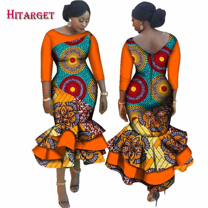 f21a92229117d 2019 New Dashiki African Bazin Riche Dresses for Women Cascading Ruffle  Dress Vestidos Plus Size African Women Clothing WY2518