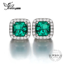 JewelryPalace Cushion 2.1ct Created Emerald Halo Stud Earrings Solid 925 Sterling Silver 2016 Brand New Promotion