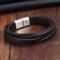 XANI 2017 Fashion Stainless Steel Chain Genuine Leather Bracelet Men Vintage Male Braid Jewelry For Women