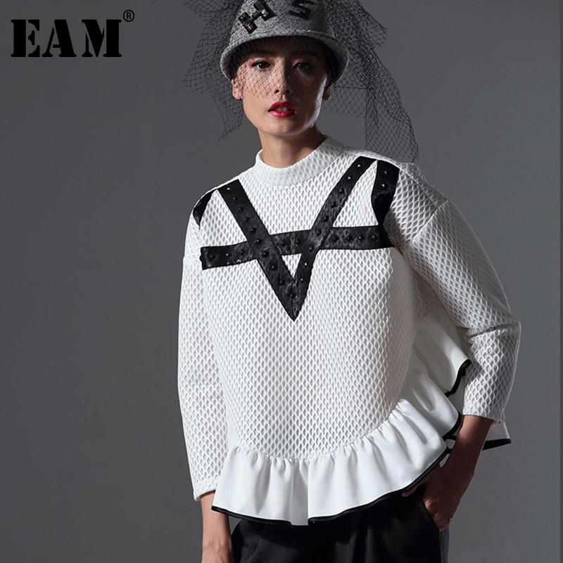[EAM] Tailor-made 2018 New Summer Original Design Personality Frill Hem Bottoming Air Network Sweatshirt AZ32