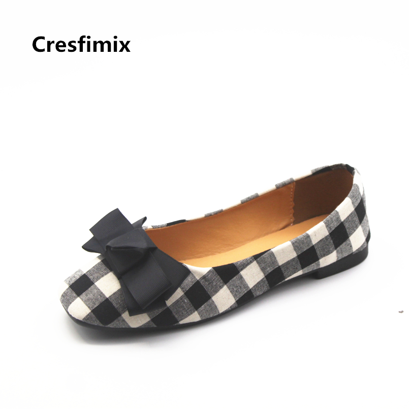 Cresfimix chaussures pour femmes women fashion black plaid flat shoes lady cute comfortable slip on summer bow tie shoes b845 cresfimix femmes appartements women fashion comfortable mesh breathable flat shoes lady cute beige bow tie shoes zapatos b2859