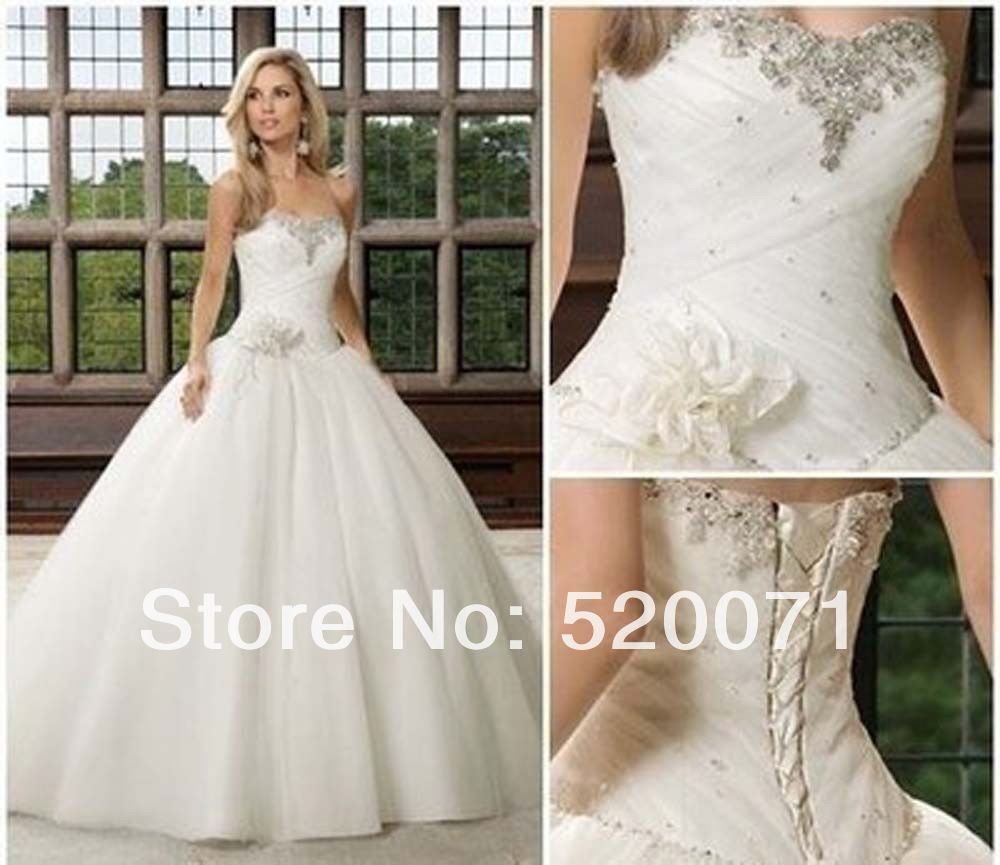 Beautiful Ball Gown Sweetheart Sleeveless Crystals Tulle Lace Up Floor Length White Ivory Princess Wedding Dresses Bridal Gowns In From