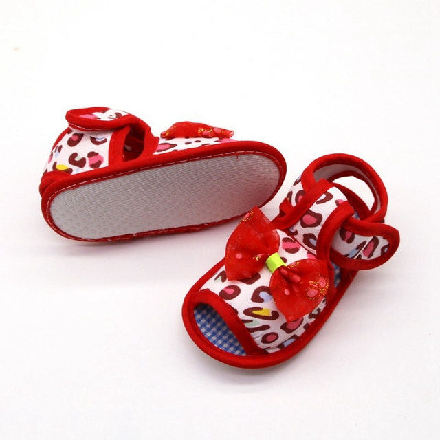 2019 Infant toddler sandals solid color bow cotton shoes leopard print sandals baby toddler shoes for 0-18M 1