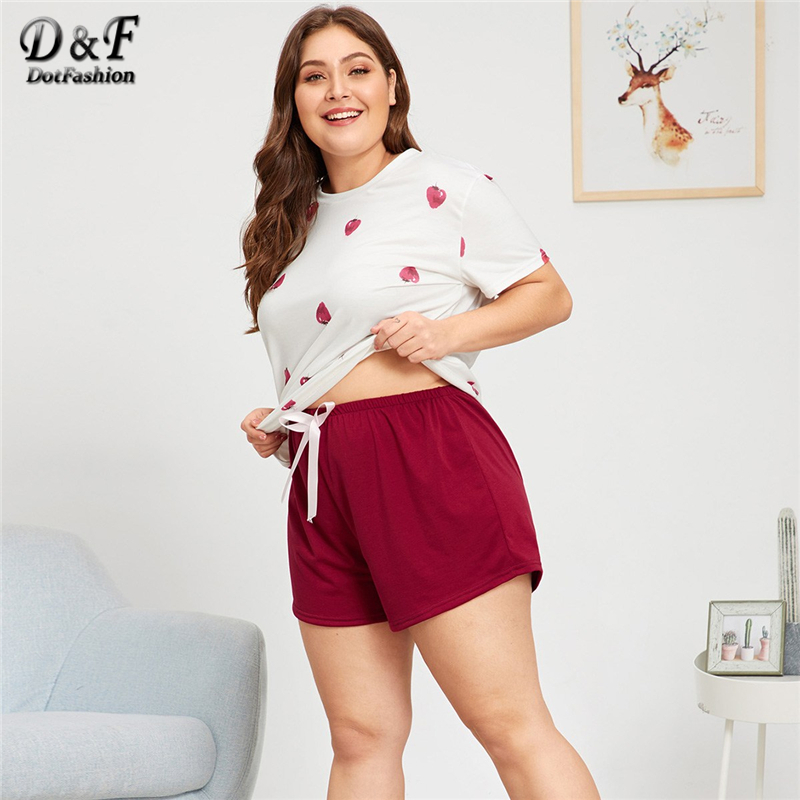 Dotfashion Plus Size Strawberry Print   Pajama     Set   2019 Summer Casual   Pajamas   For Women Plus Size Fashions Short Sleeve Nightwear