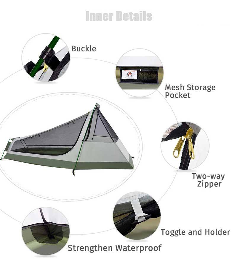 Geertop uma pessoa 3-4 temporada acampamento tenda