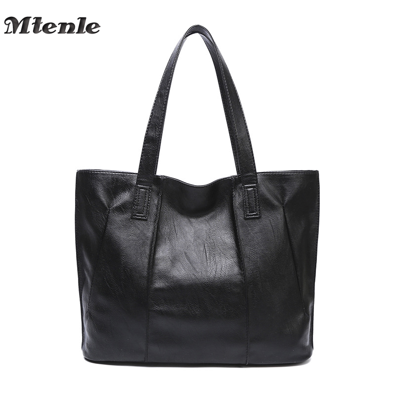 MTENLE Women Bag Ladies PU Leather Handbags Simple Design Tote Bag Big Shoulder Bags For Woman Large Capacity Bolso Mujer Fi new genuine leather bags for women famous brand boston messenger bags handbags tassel tote hand bag woman shoulder big bag bolso