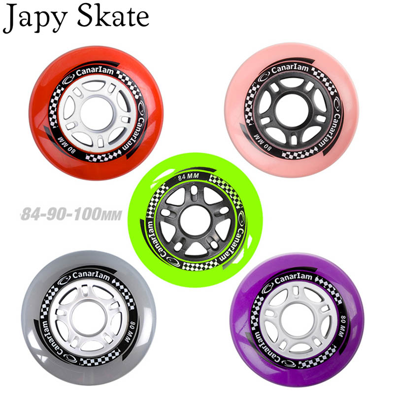 Prix pour Jus japy Roues de Skate de Vitesse 84A 84/90mm Coloré Coulissantes Patins À Roues Alignées Roue De SEBA Powerslide Patine 8 Pcs/Lot