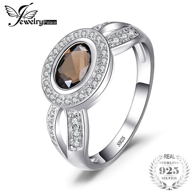 JewelryPalace Luxry 1.09ct Genuine Smoky Quartz Statement Ring Solid 925 Sterlin