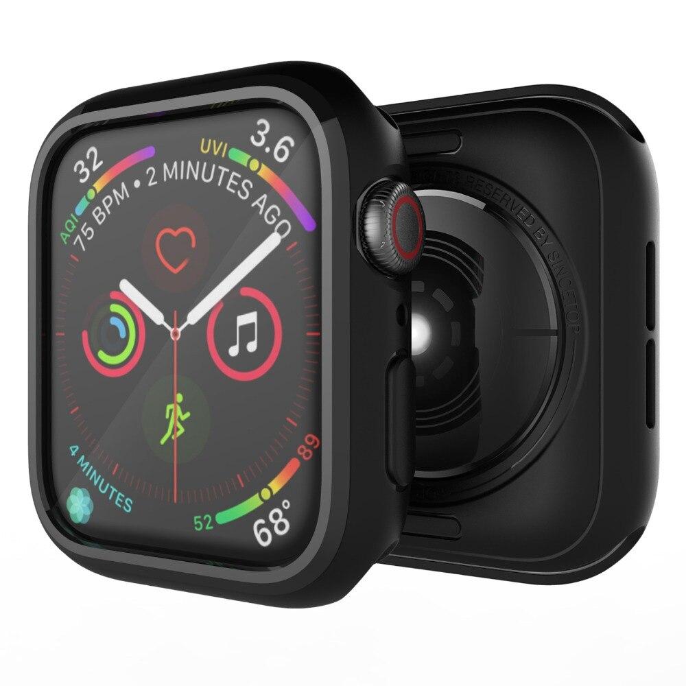 Caso acessório para Apple Série Relógio 4 44mm 40mm TPU Macio Ultra-Fino E Leve de Proteção Resistente a Riscos tampa moldura preta