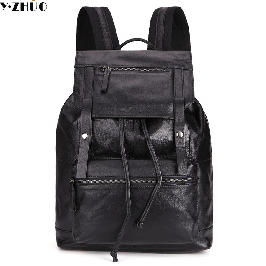 genuine leather man backpacks 2018 hot sale 100% cow leather famous brand school backpack double shoulder bag fashion man bags free shipping classics brand cow leather clothing man s 100