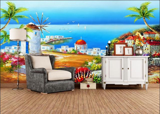 Us 15 77 45 Off 3d Room Wallpaper Custom Mural Non Woven Oil Painting Scenery Of The Mediterranean Sea Painting Photo Wallpaper For Walls 3 D In
