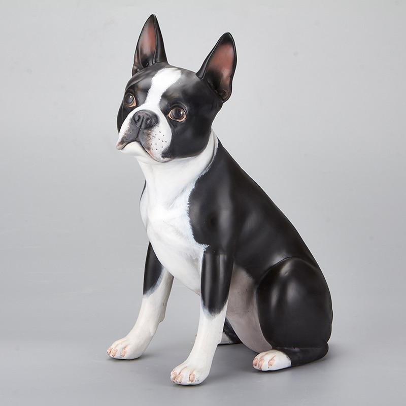 US $87 18 31% OFF|Cute Elegant Boston Bulldog Creative Personality Bulldog  Resin Dog Ornaments Figurine Statue Artificial Best Gift-in Figurines &