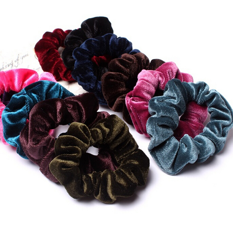 New 10 Pcs/Pack Useful Scrunchy Hair Rope Donut Elastic Velvet Hairband Women Ponytail Holder Hair Flannel   Headwear