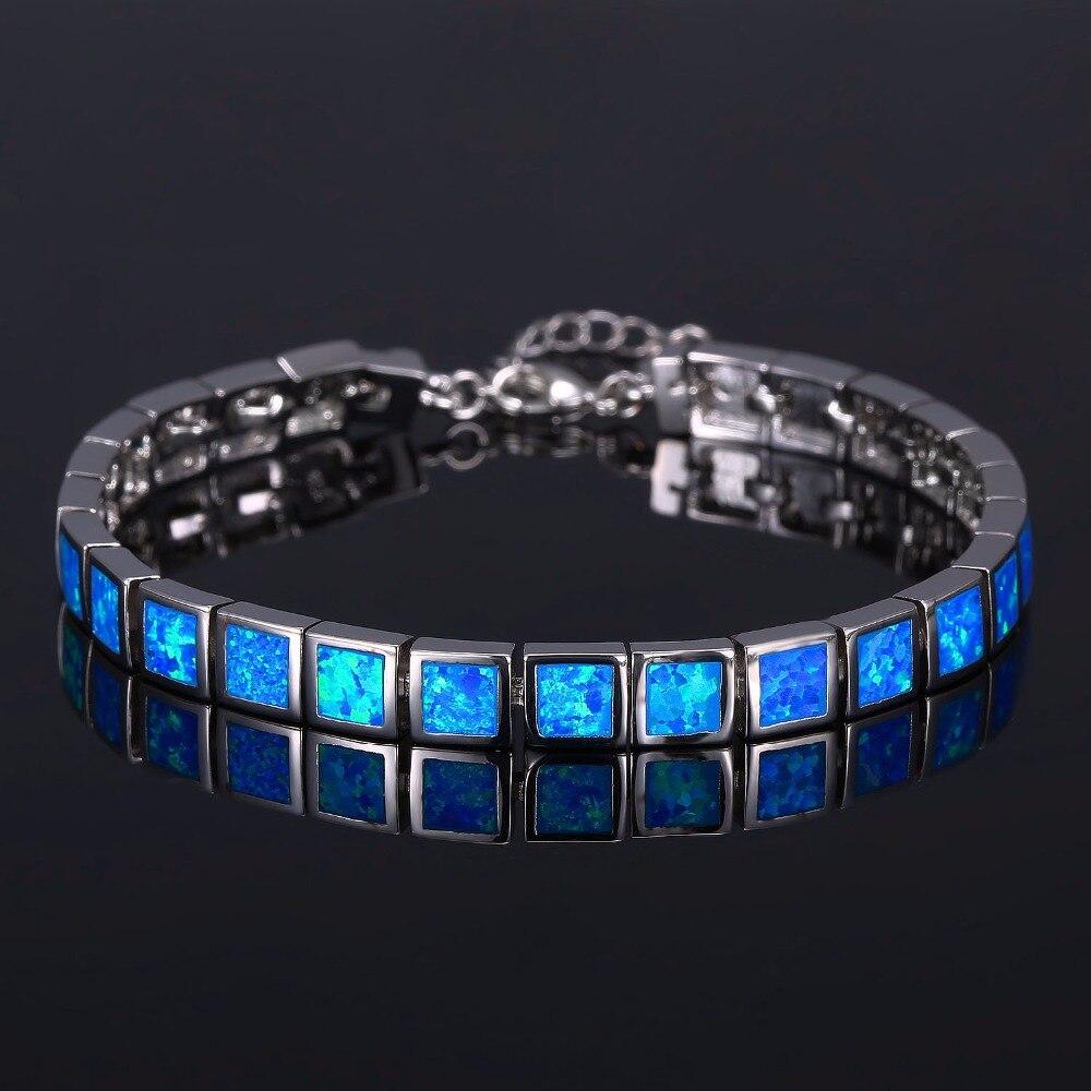 en soldes 4f0f4 c0dcf € 14.04 15% de réduction|Bracelet opale de feu bleu Design carré livraison  gratuite pour cadeau-in Bracelets ficelle et chaîne from Bijoux et ...
