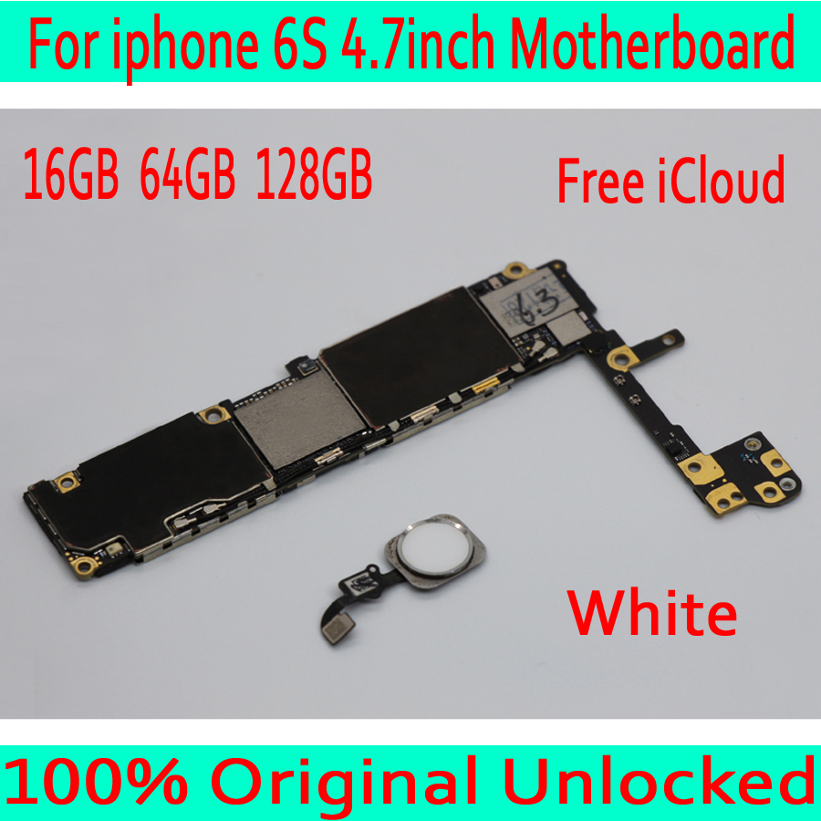White with Touch ID for iphone 6S Motherboard,Original unlocked for iphone 6S Logic board  with Free iCloud ,16GB / 64GB / 128GB