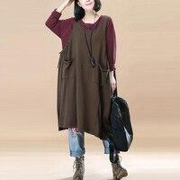 ZANZEA Round Neck Sleeveless Solid Pullover Bandage Strap Knee Length Dress Leisure Bib Overalls Brown Stylish