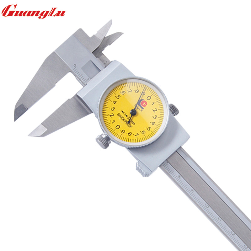 GUANGLU 0-150mm/0.02 Dial Caliper Stainless Steel Vernier Caliper Gauge Calipers Micrometer Measure Tools цены