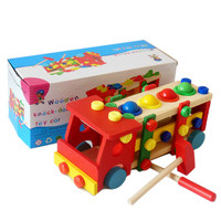 Wooden assembled screwdriver multifunction knock the ball screw car assembly car model building blocks toys for children kids