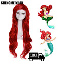 70cm/28inch Wave Fashion Cosplay Synthetic Hair Long Brown Red Little Mermaid Ariel Cosplay Wig Ariel Peruca + Free Wig Cap