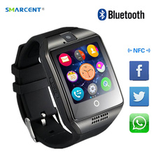 SMARCENT Bluetooth Smart Watch Q18 With Camera Facebook Whatsapp Twitter Sync SMS Smartwatch Support SIM TF Card For IOS Android