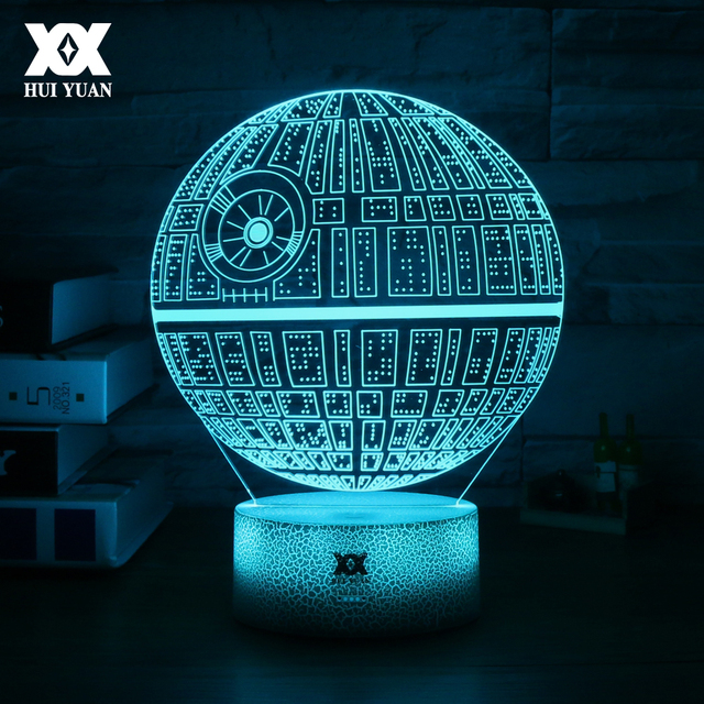Star Wars Death 3D Lamp 7 Colors Glowing LED Cool Night Lights Novelty Touch Table
