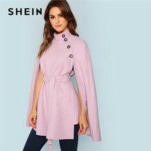 SHEIN Стильное Пальто-Пончо В Винтажном Стиле, Модное Укороченное Пальто С Пуговицами