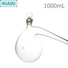 HUAOU 1000mL Retort with Ground - in Glass Stopper 1L Borosilicate 3.3 Glass Distillation Distilling Flask Laboratory Chemistry