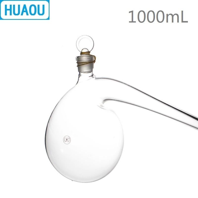 HUAOU 1000mL Retort with Ground in Glass Stopper 1L Borosilicate 3.3 Glass Distillation Distilling Flask Laboratory Chemistry