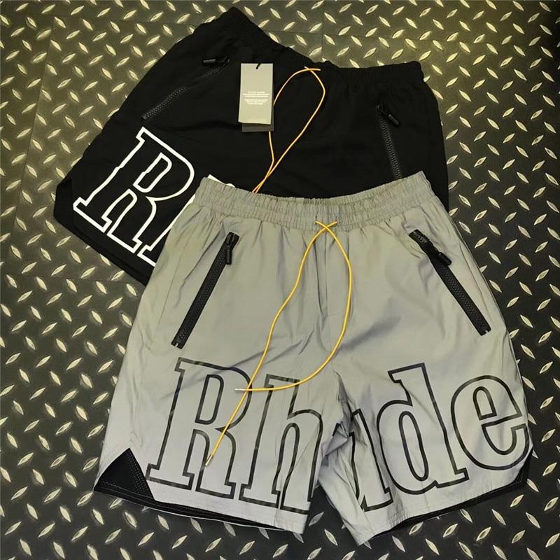 3M Reflective Rhude Shorts Men Women 1:1 High Quality Streetwear Shorts Fashion Casual Hip Hop Beach Sportswear Rhude Shorts