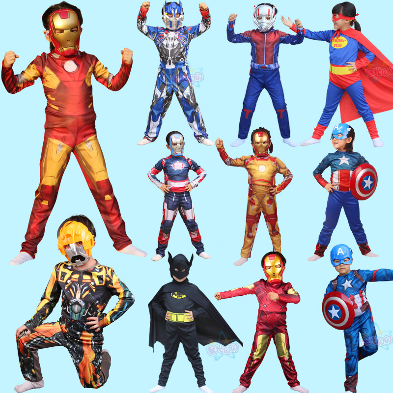 Carnival Purim Super Hero children's Muscle avengers Captain America SpiderMan  Ironman Hulk clothes  cosplay for kids