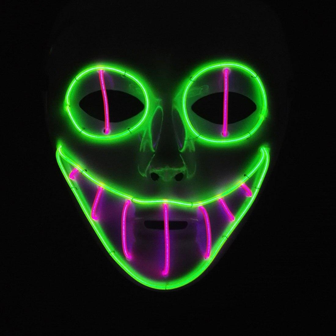 Máscara de Halloween LED ilumina la máscara el Purge Election año gran Festival Cosplay suministros máscaras del partido resplandor en oscuro 6 forma