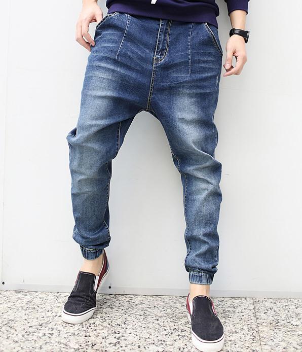 Men Harem Pants Denim Trousers Casual Jeans Summer Hip-hop Stylish