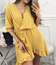 Style women dress womens polka dots long sleeve clothing sexy v-neck new ladies female dresses