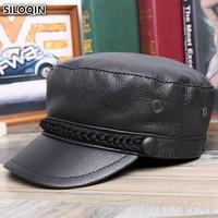 SILOQIN Elegant Women's Genuine Leather Hat Army Military Hats Winter Fashion Cowhide Leather Men's Flat Cap Chapeau En Cuir