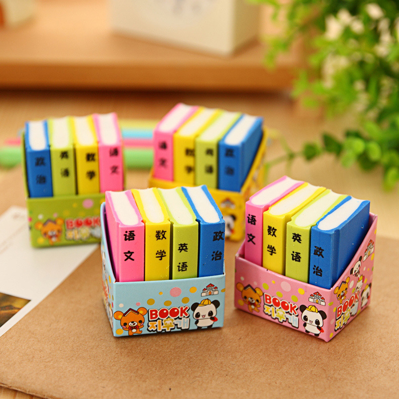 4 Pcs / Pack Creative Book Style Pencil Eraser Kid Stationery School Office Supply Children Education Gift Prize