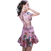 Indonesia Style Luxury Dress Runway 2017 Ladies Pinup Crossover Back Pink Tropical Plant Flower Dress Cutout Short Mermaid Dress