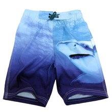 Funfeliz/детский купальник; быстросохнущие пляжные шорты; От 7 до 16 лет для мальчиков-подростков; Шорты для плавания с акулой; детский купальник