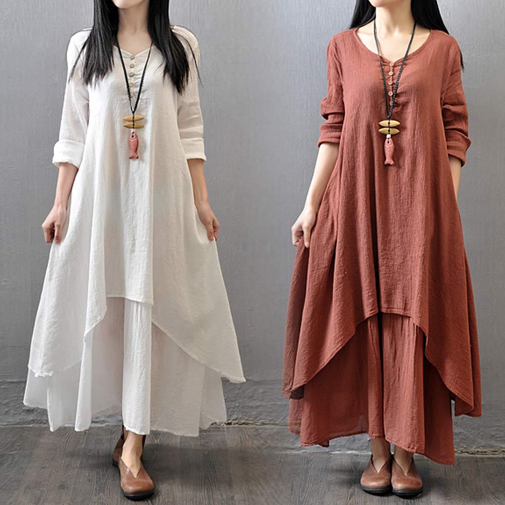 Große Größe Maxi Kleider Frauen Falsche Zwei-stück Langarm Baumwolle Leinen Kleid Casual Weiß Boho Übergroßen Sommer Kleid 4XL 5XL