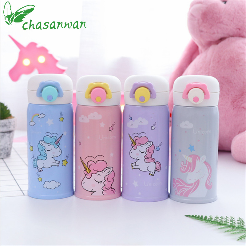 350ml Kids Unicorn Thermo Mug Thermos Bottle Coffee Cup Stainless Steel Water Bottle Thermocouple Unicorn Party Thermos Mug.Q