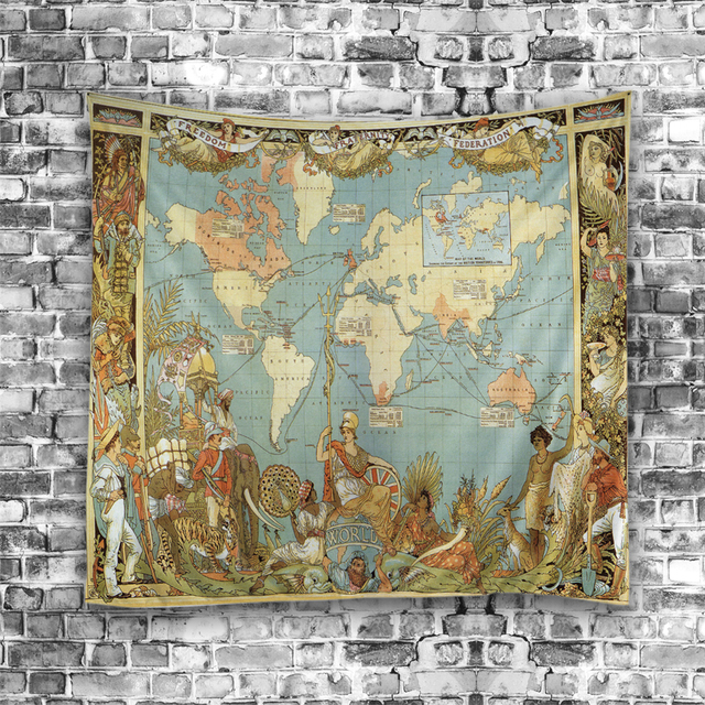 Cilecte new world map printed mandala tapestry wall hanging hippie cilecte new world map printed mandala tapestry wall hanging hippie tapestry beach throw rug blanket boho gumiabroncs Gallery