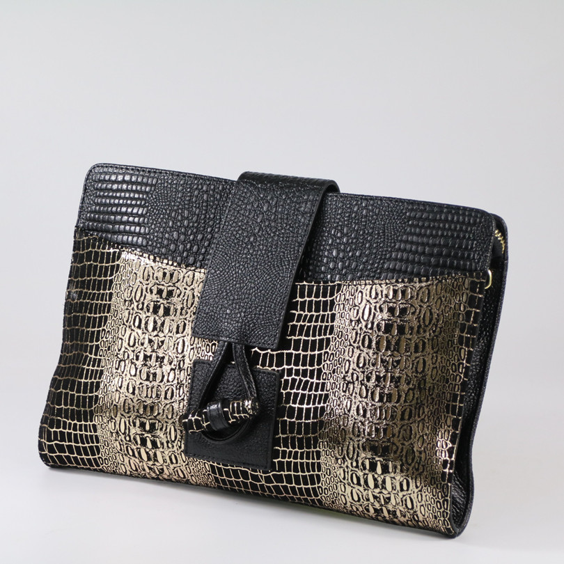 Genuine Leather Women Clutch Bag\Handbags 2019 New Fashion Crocodile Envelope Shoulder Bag\Messenger Bag Evening Bag~16B56