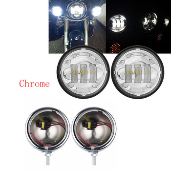 4.5 inch chrome housing bracket mount ring bucket + 60W 4.5'' LED Spot Lights Passing Projector fog lamp for Motocycle