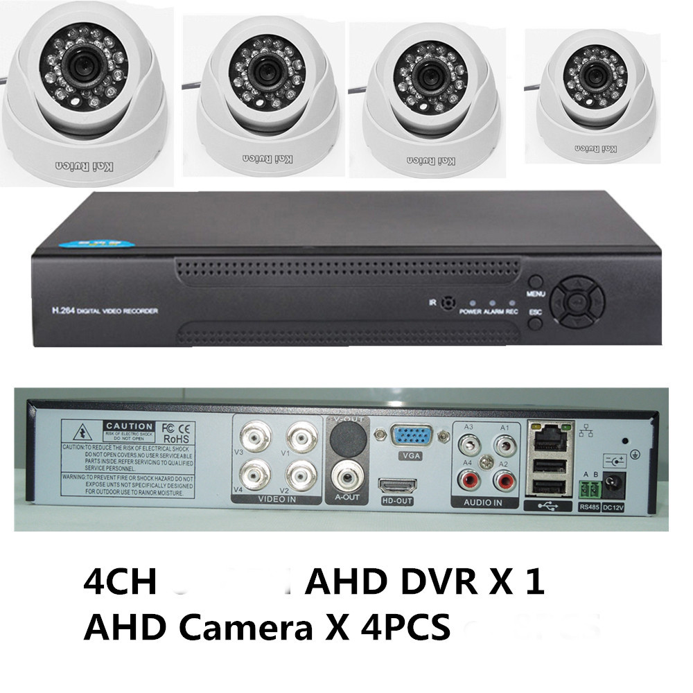 Kai Ruien 1200TVL 720P HD indoor Home Security Camera System 4CH 1080N HDMI DVR CCTV Video Surveillance Kit AHD Camera Set 720p hd indoor ir home security camera system 4ch 720p hdmi ahd dvr cctv video surveillance kit ahd camera set dhl freeship